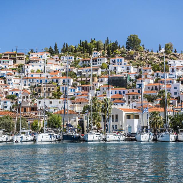 """Sailing boats in Poros Island port, Saronic Island, Aegean Coast, Greece"" stock image"