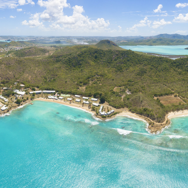 """""""Panoramic elevated view of Hawksbill Bay and Landing Bay, Antigua, Antigua..."""" stock image"""