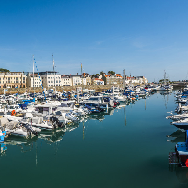 """""""Boats in St Peter Port Harbour, Guernsey, Channel Islands, United Kingdon"""" stock image"""