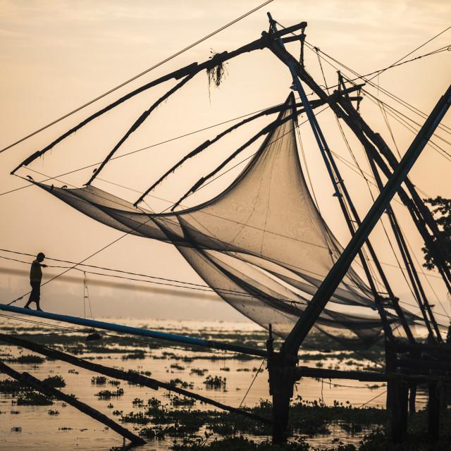 """""""Traditional Chinese fishing nets at sunrise, Fort Kochi (Cochin), Kerala, India"""" stock image"""