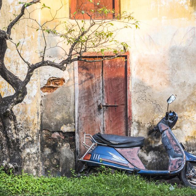 """Moped street scene, Fort Kochi (Cochin), Kerala, India"" stock image"