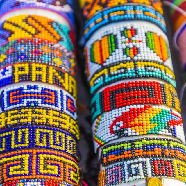 """Traditional handmade shakira bracelets for sale in the San Blas Islands, Kuna..."" stock image"
