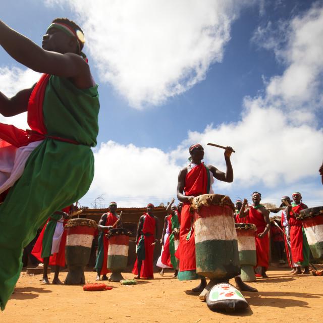"""Traditional Burundian dance with typical drums, Africa, Burundi"" stock image"