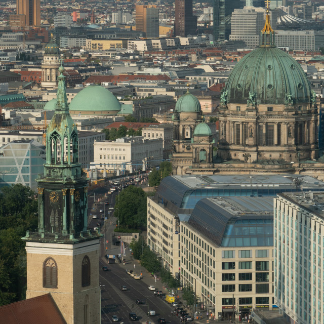 """""""Aerial cityscape with Berliner Dom in centre seen from Alexanderplatz, in..."""" stock image"""
