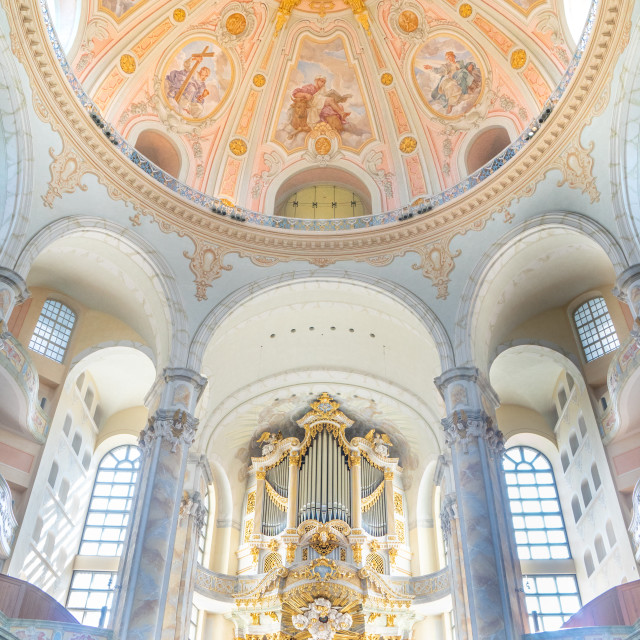 """""""Interior of Lutheran Frauenkirche orig built 1734 but completely destroyed..."""" stock image"""