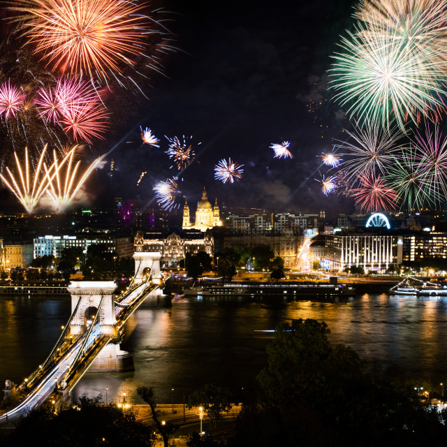 """""""Fireworks in Budapest over the city and chain bridge"""" stock image"""