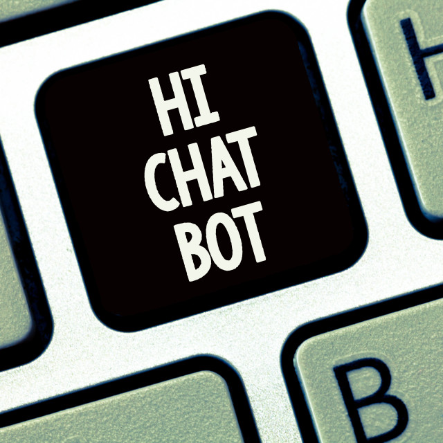 """""""Handwriting text writing Hi Chat Bot. Concept meaning Greeting to robot..."""" stock image"""