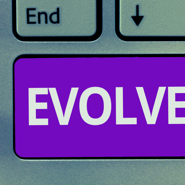 """""""Conceptual hand writing showing Evolve. Business photo text develop gradually..."""" stock image"""