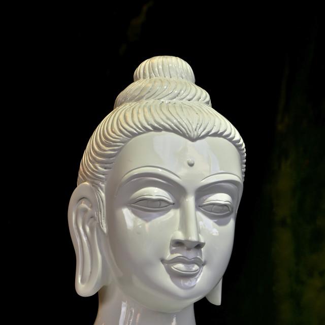 """White alabaster buddha head"" stock image"