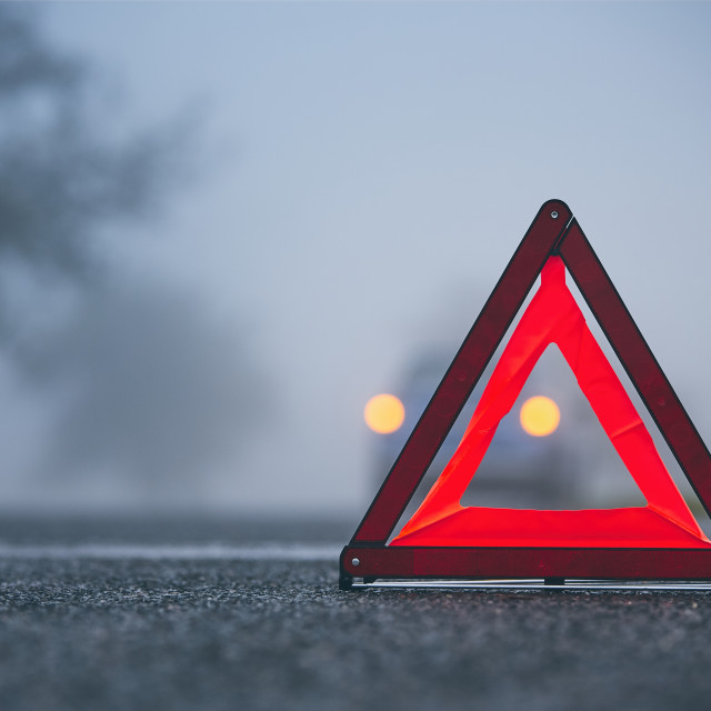 """""""Traffic problem in thick fog"""" stock image"""