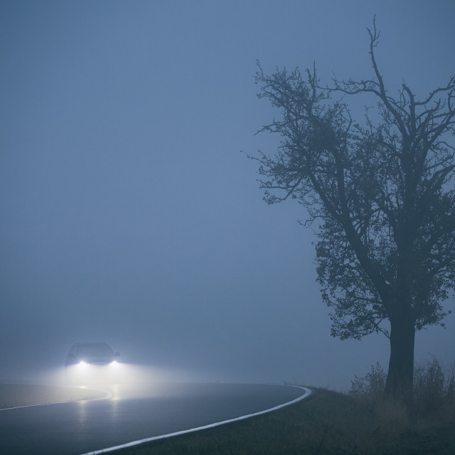 """""""Car in thick fog"""" stock image"""