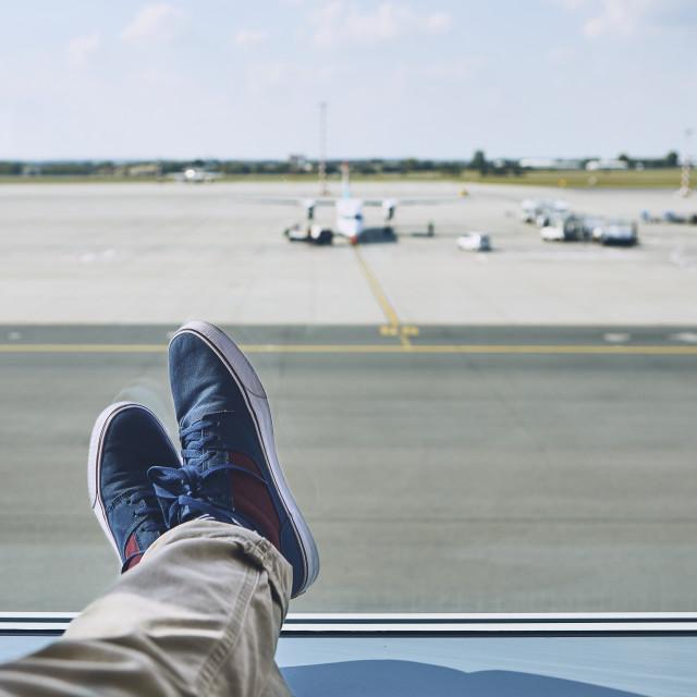 """""""Man waiting at airport"""" stock image"""