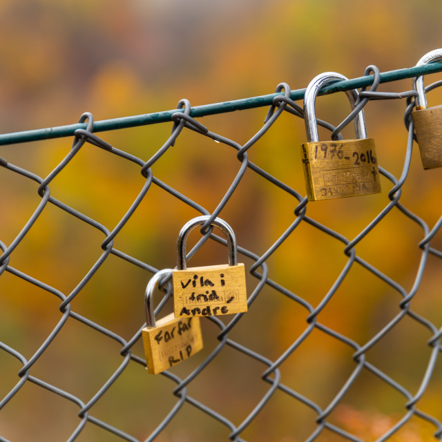 """Padlock on a fence with autumn colors in the background"" stock image"