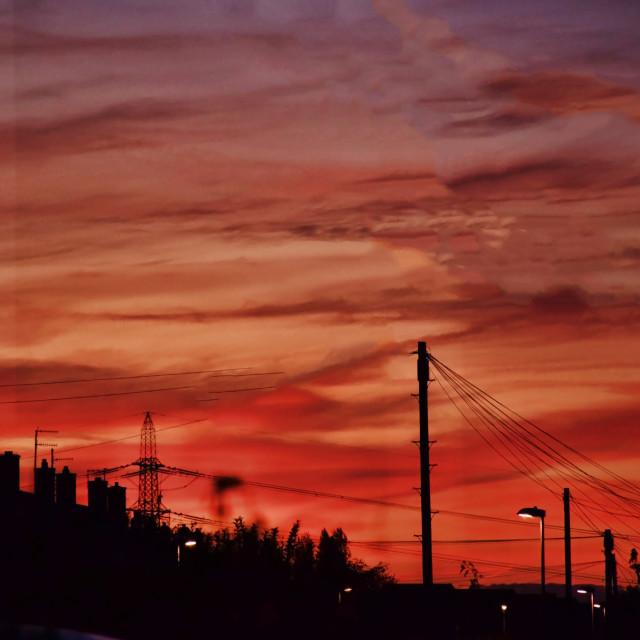 """Sunset over Dorset houses"" stock image"