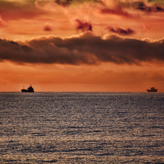 """Ships on the horizon"" stock image"