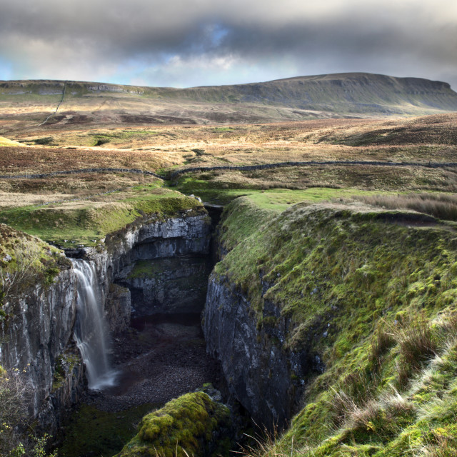 """Waterfall at Hull Pot and Pen Y Ghent"" stock image"