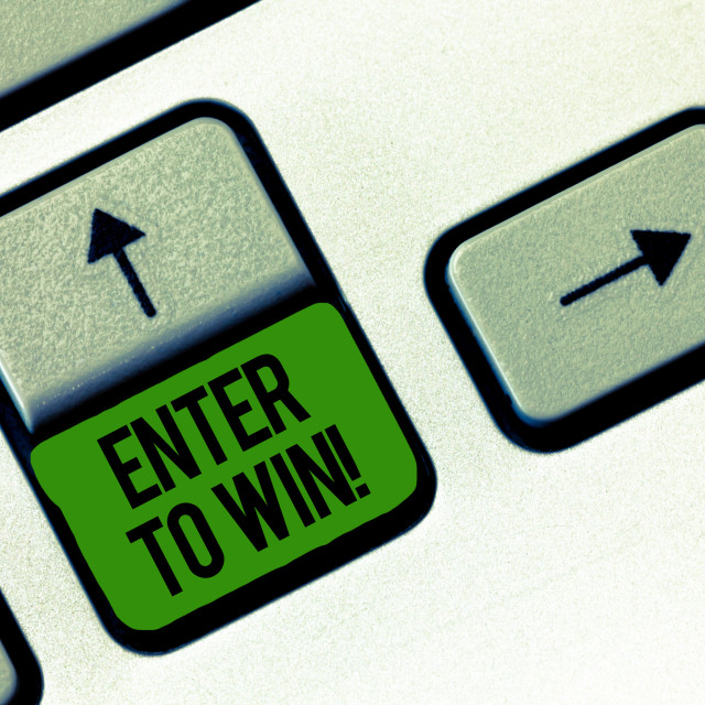 """""""Writing note showing Enter To Win. Business photo showcasing Sweepstakes..."""" stock image"""