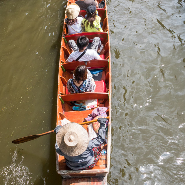 """Tourists in boats"" stock image"