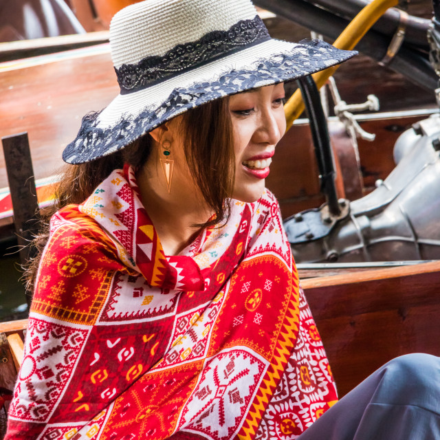 """Chinese girl tourist in hat"" stock image"