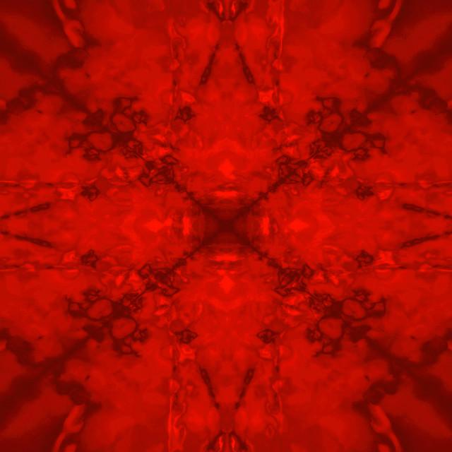 """Red star kaleidoscope pattern"" stock image"