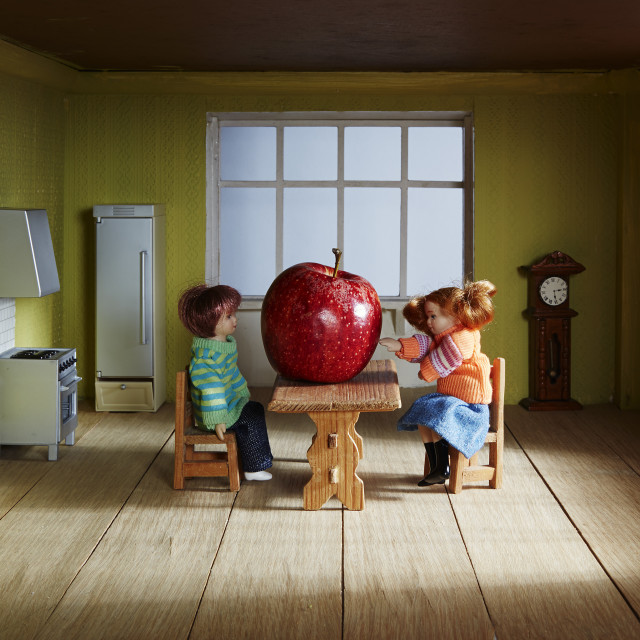 """Ada was pensive when Eve touched the apple"" stock image"