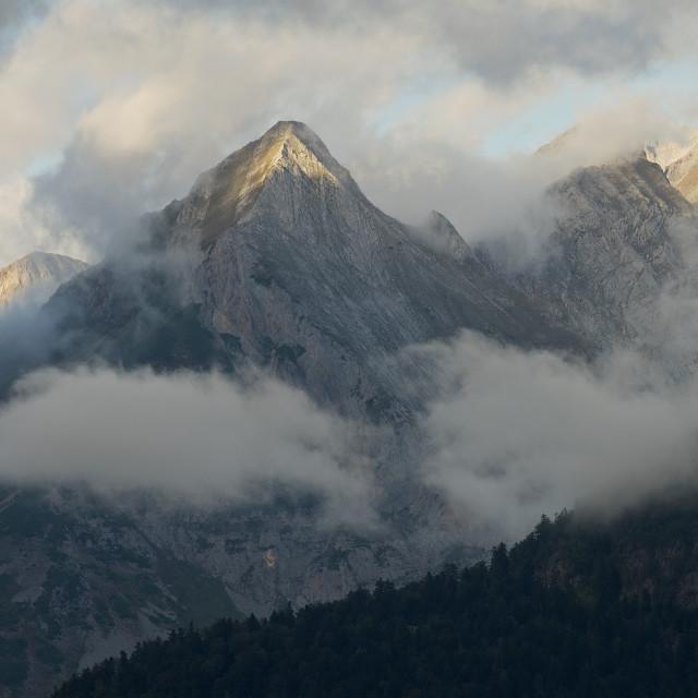 """Dark Skies above the Ossau Valley"" stock image"