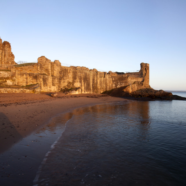 """""""St Andrews Castle and Castle Sands at Sunrise"""" stock image"""