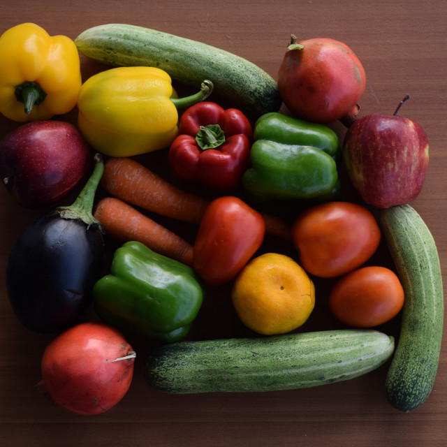 """""""Fresh Fruits and Vegetables in rainbow arrangement"""" stock image"""