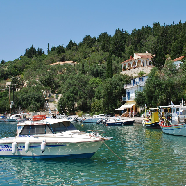 """Boats in Lakka harbour, Paxos"" stock image"