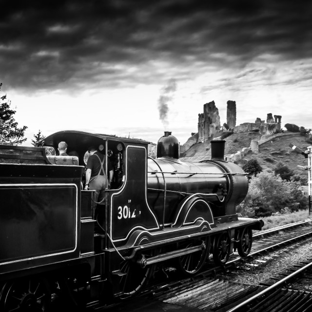 """Steam Locomotive BR30120 at Corfe Castle Station"" stock image"