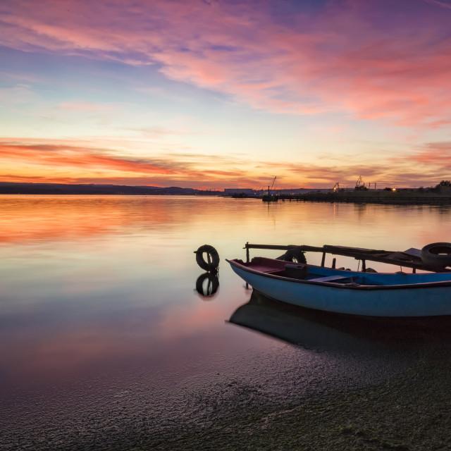"""seashore with boat"" stock image"