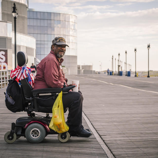 """Vietnam Veteran on the Boardwalk, Atlantic city, New Jersey, United States"" stock image"