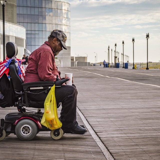 """Vietnam Veteran on the Boardwalk, Atlantic city, New Jersey, United States"" stock image"