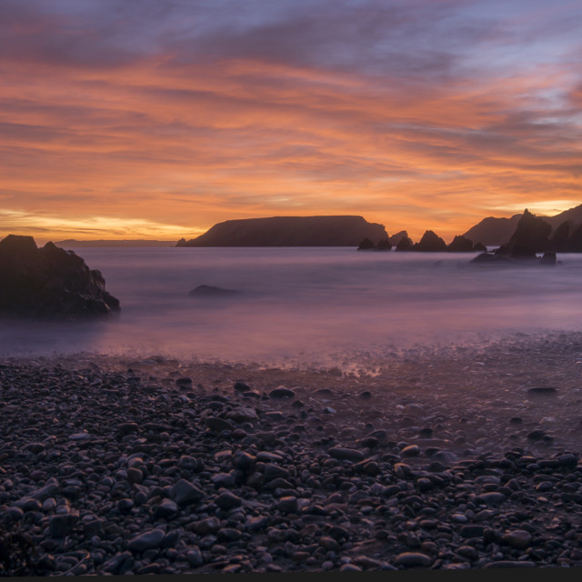 """""""Marloes Sands sunset"""" stock image"""