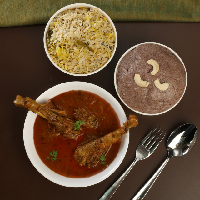 """Rural South Indian chicken curry meal"" stock image"