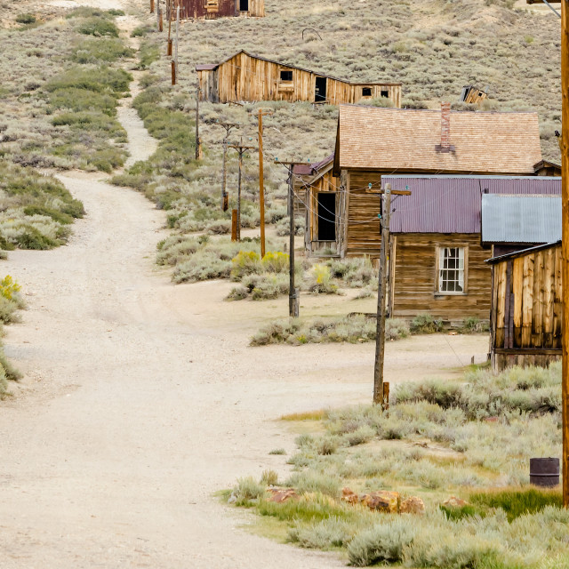 """""""Main Street in the Ghost Town of Bodie, California, USA"""" stock image"""