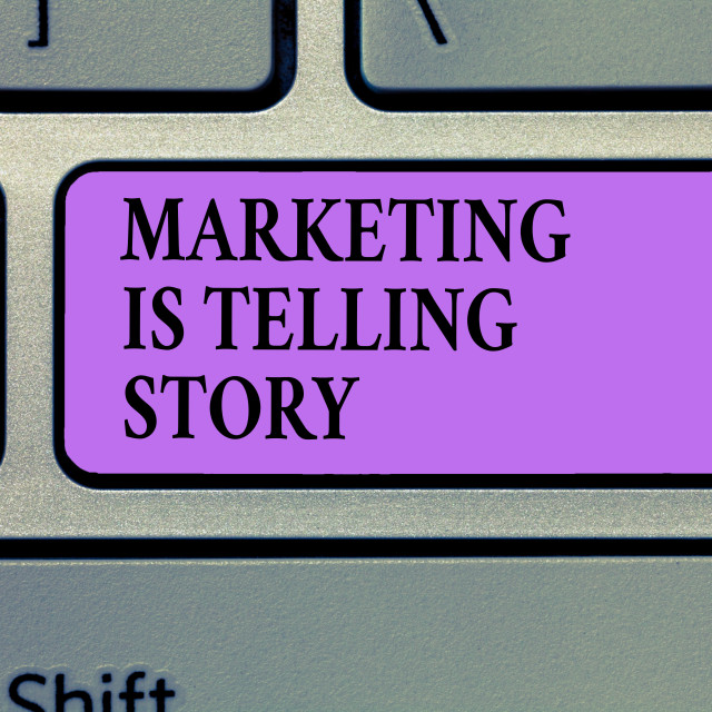 """""""Writing note showing Marketing Is Telling Story. Business photo showcasing..."""" stock image"""