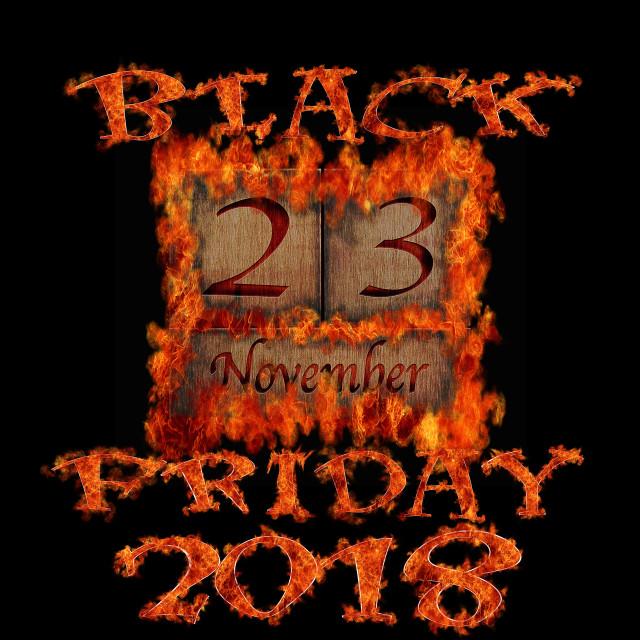 """Burning wooden calendar Black Friday 2018."" stock image"