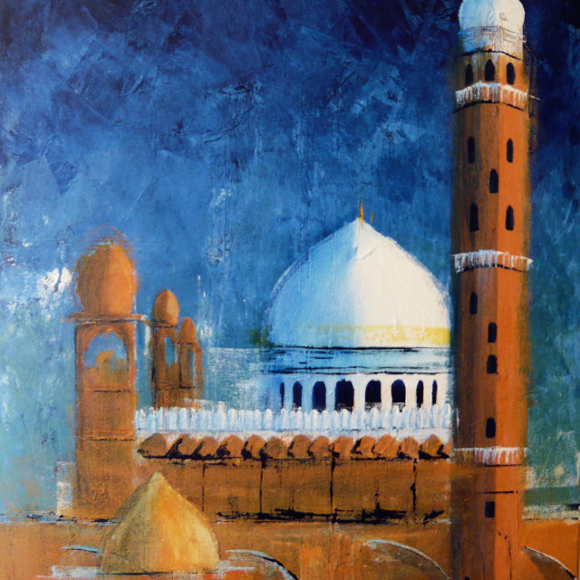"""Image of my painting 'Mosque, Bopal'"" stock image"