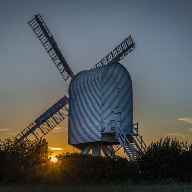"""Chillenden Windmill Sunset"" stock image"