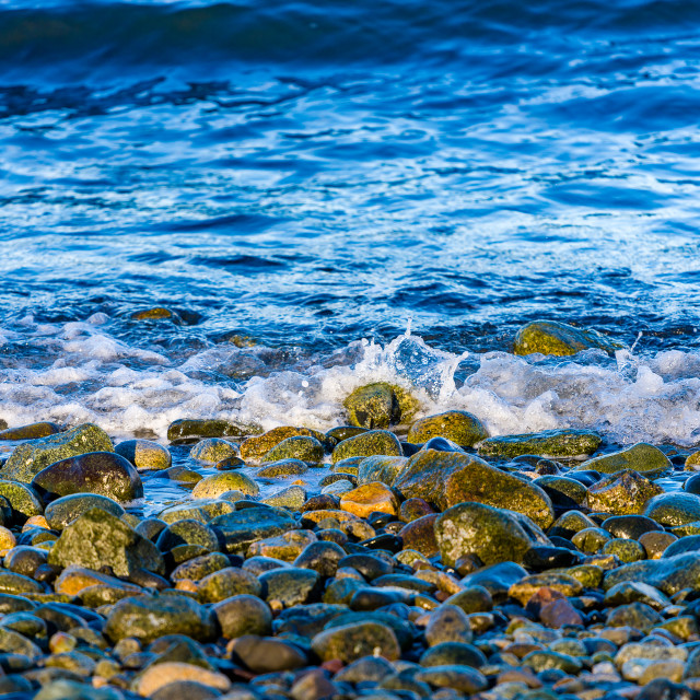 """The waters of english bay lap on the shore"" stock image"