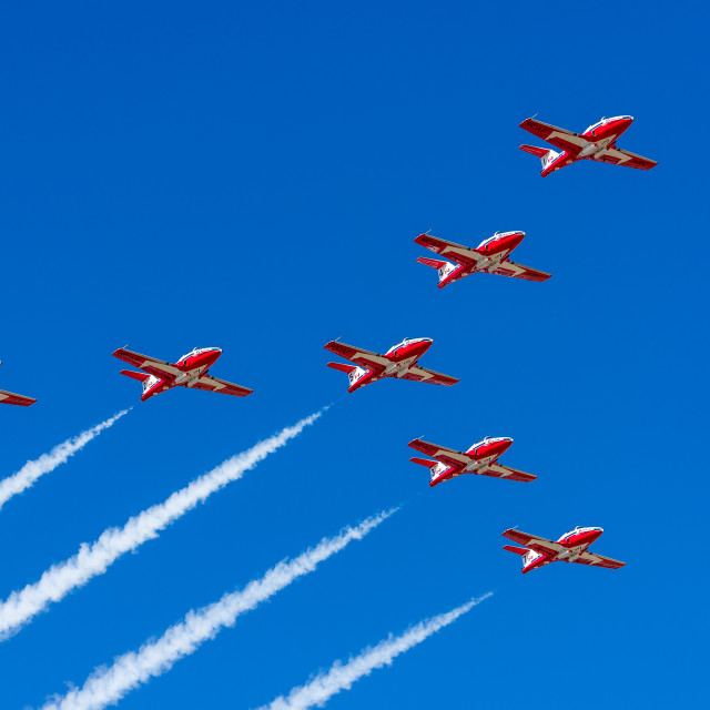 """Fly over by the Canadian Snowbirds demonstration team"" stock image"