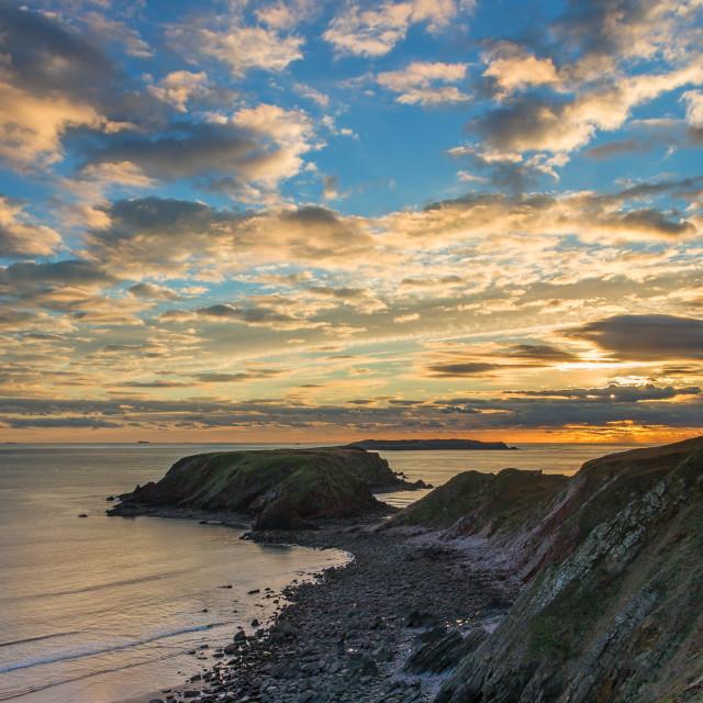 """Pembrokeshire Sunset"" stock image"