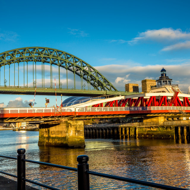 """Tyne Bridge and Swing Bridges."" stock image"