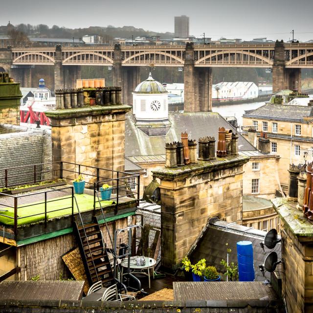 """High -level bridge over roof-tops"" stock image"