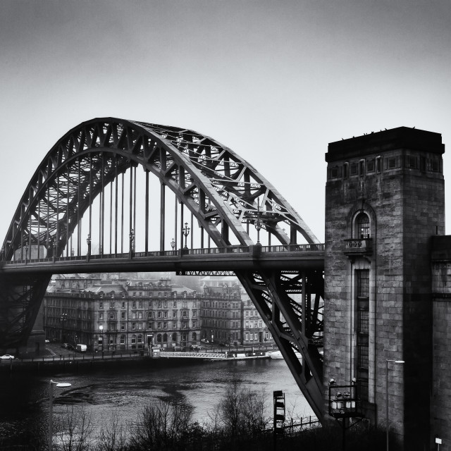 """Tyne bridge monochrome"" stock image"