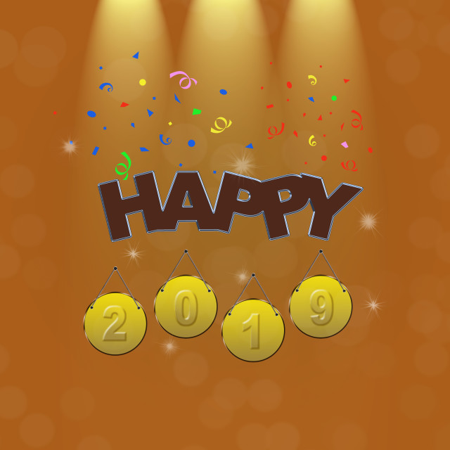 """Illustration with Happy New Year 2019."" stock image"