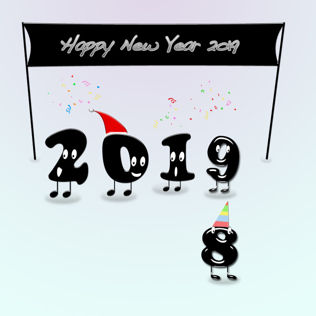 """""""Animated numerals of 2019 year congratulating with new year."""" stock image"""