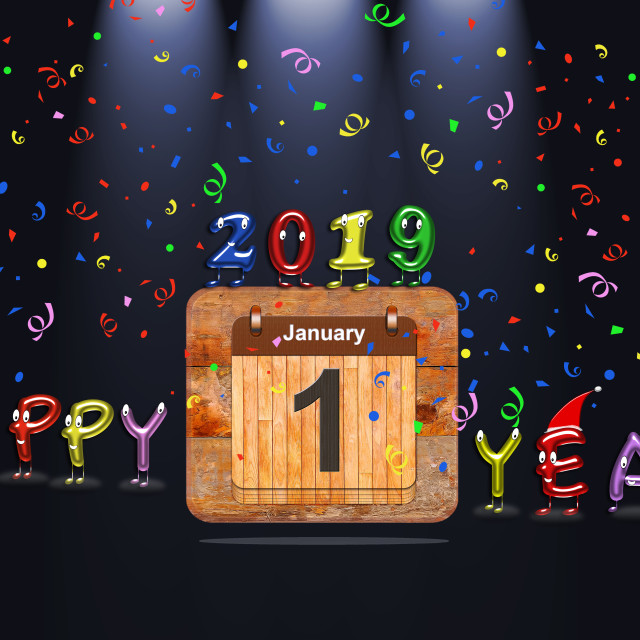 """""""Illustration with Happy New Year 2019."""" stock image"""