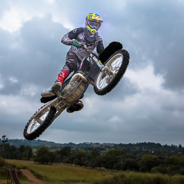 """Motorbike rider in mid air"" stock image"